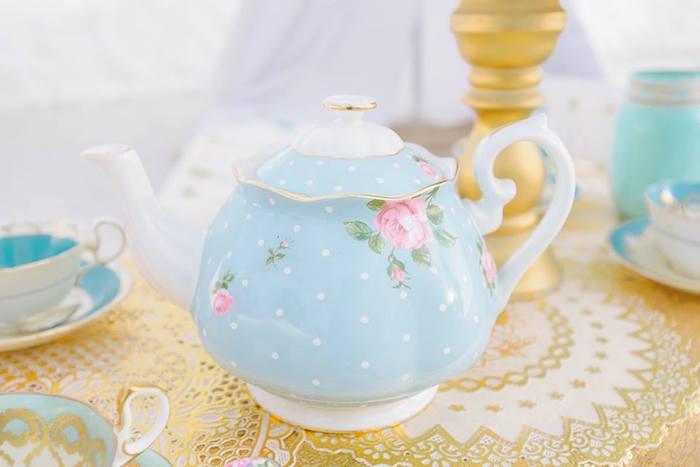 Tea kettle from a Bohemian Beach Tea Party on Kara's Party Ideas | KarasPartyIdeas.com (17)