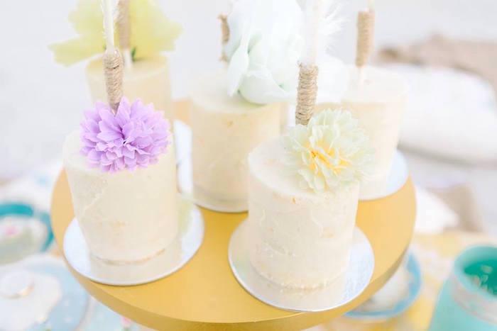 Mini boho cakes from a Bohemian Beach Tea Party on Kara's Party Ideas | KarasPartyIdeas.com (15)