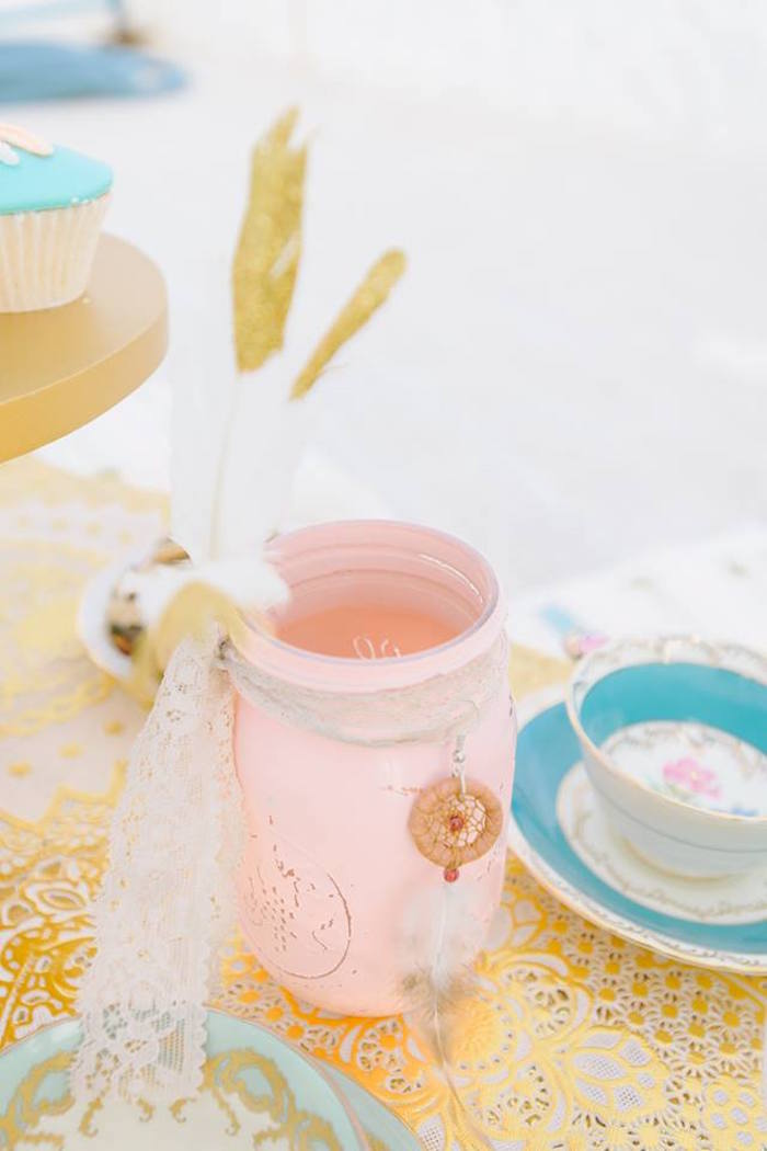 Boho mason jar decoration from a Bohemian Beach Tea Party on Kara's Party Ideas | KarasPartyIdeas.com (14)