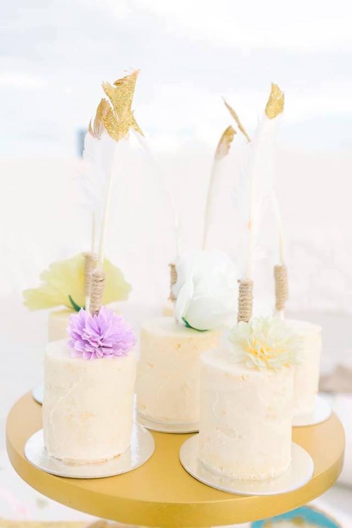 Mini boho cakes from a Bohemian Beach Tea Party on Kara's Party Ideas | KarasPartyIdeas.com (13)