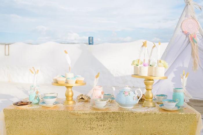 Glam boho dessert table from a Bohemian Beach Tea Party on Kara's Party Ideas | KarasPartyIdeas.com (11)