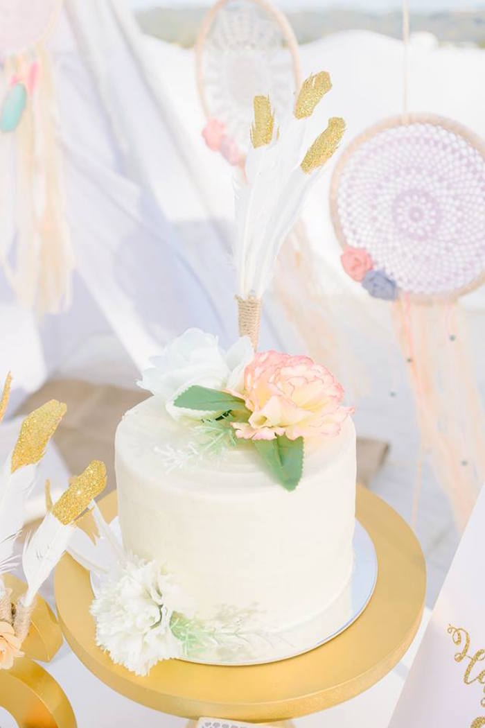 Boho cake from a Bohemian Beach Tea Party on Kara's Party Ideas | KarasPartyIdeas.com (8)