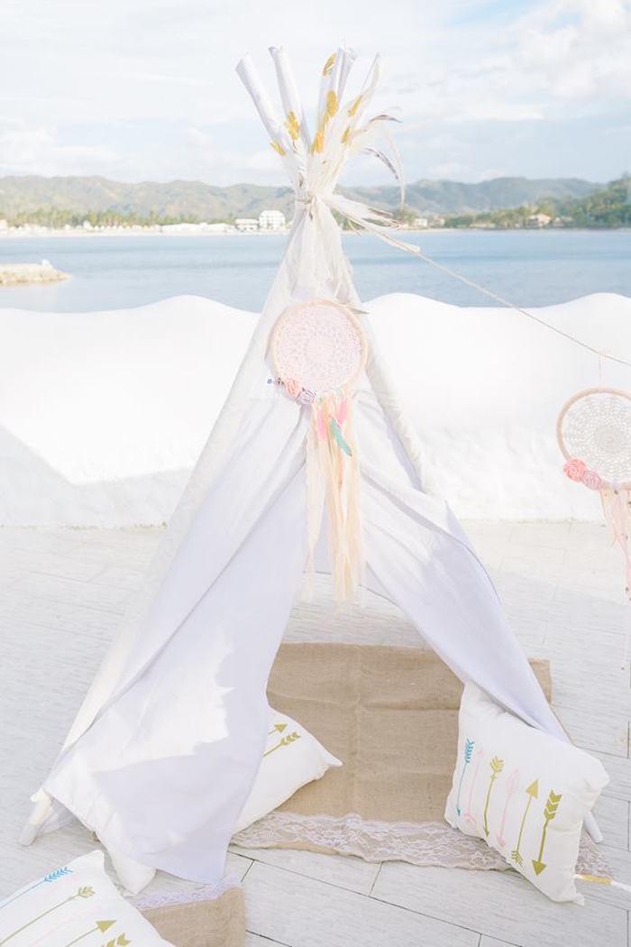 Boho teepee from a Bohemian Beach Tea Party on Kara's Party Ideas | KarasPartyIdeas.com (7)