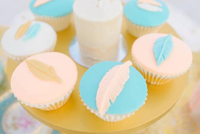 Feather cupcakes from a Bohemian Beach Tea Party on Kara's Party Ideas | KarasPartyIdeas.com (5)