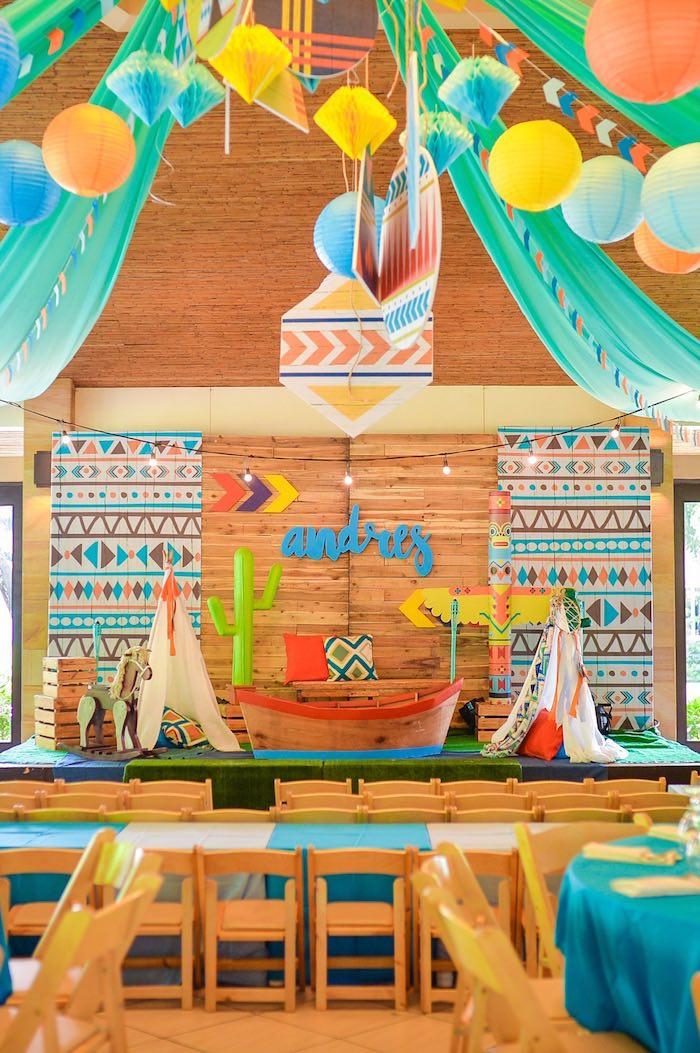 Tribal backdrop + photo booth from a Boho Tribal 1st Birthday Party on Kara's Party Ideas | KarasPartyIdeas.com (26)