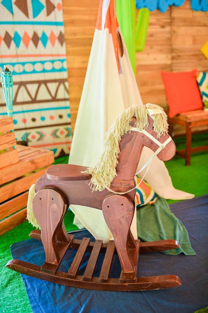 Wooden rocking horse from a Boho Tribal 1st Birthday Party on Kara's Party Ideas | KarasPartyIdeas.com (24)
