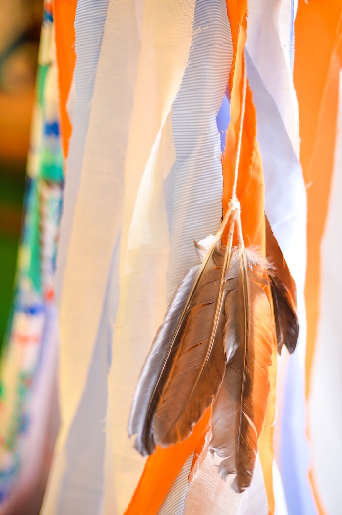 Feather bunting from a Boho Tribal 1st Birthday Party on Kara's Party Ideas | KarasPartyIdeas.com (23)