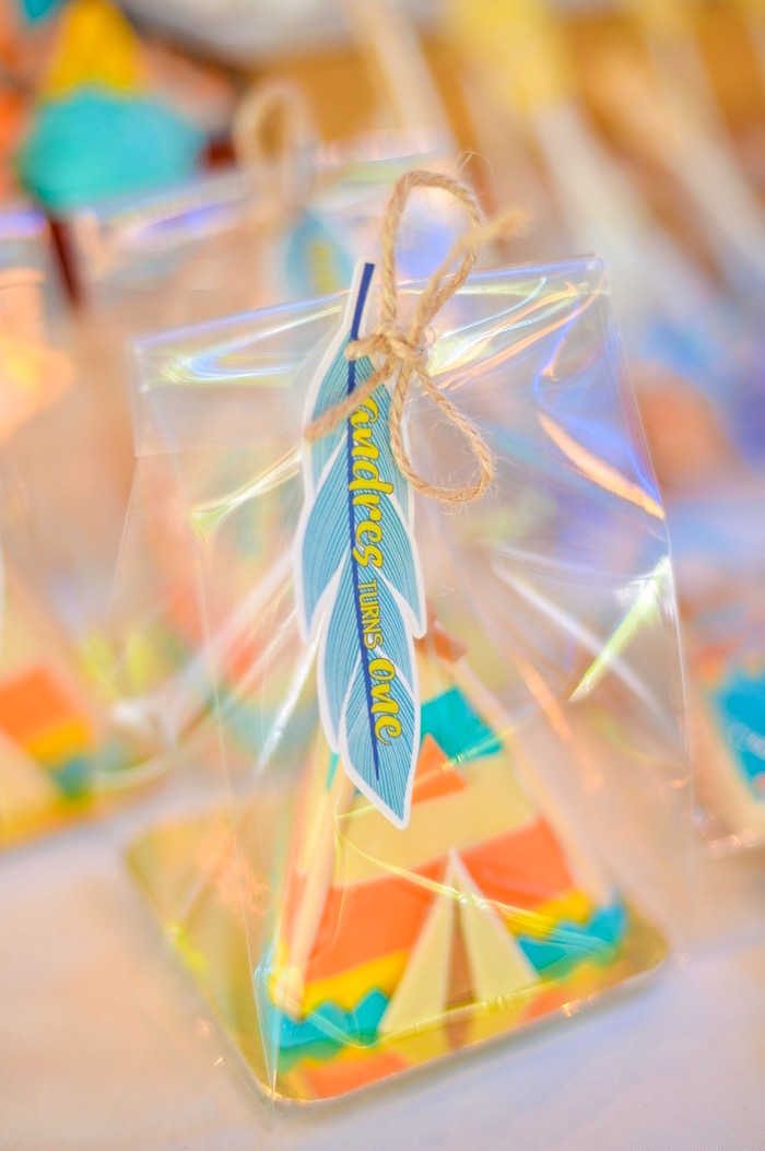 Cookie favors with feather tags from a Boho Tribal 1st Birthday Party on Kara's Party Ideas | KarasPartyIdeas.com (22)