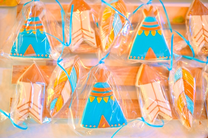 Teepee & feather cookie favors from a Boho Tribal 1st Birthday Party on Kara's Party Ideas | KarasPartyIdeas.com (21)