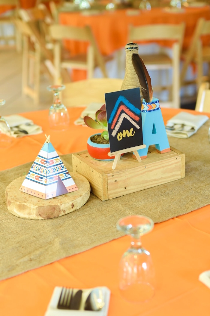 Guest table centerpieces from a Boho Tribal 1st Birthday Party on Kara's Party Ideas | KarasPartyIdeas.com (16)