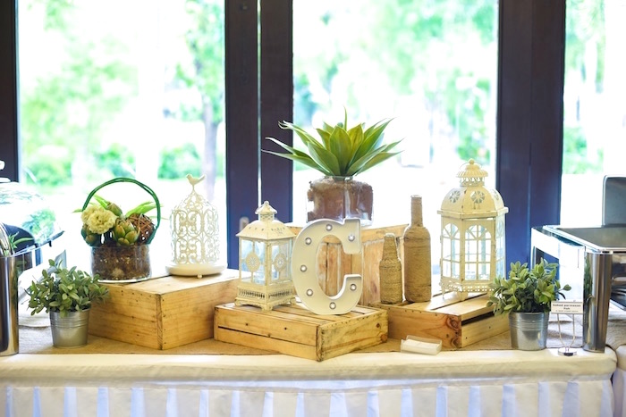 Wood crate party table from a Boho Tribal 1st Birthday Party on Kara's Party Ideas | KarasPartyIdeas.com (15)