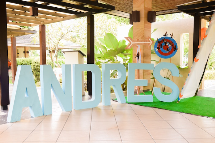 Oversized block letter name banner from a Boho Tribal 1st Birthday Party on Kara's Party Ideas | KarasPartyIdeas.com (14)