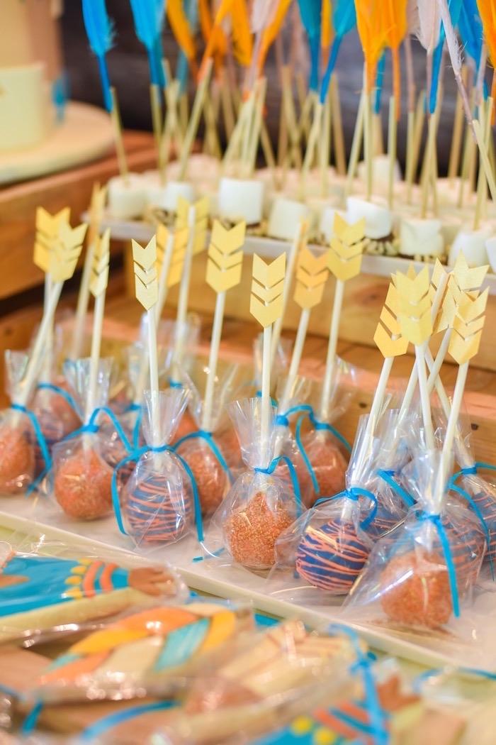 Arrow cake pops from a Boho Tribal 1st Birthday Party on Kara's Party Ideas | KarasPartyIdeas.com (10)