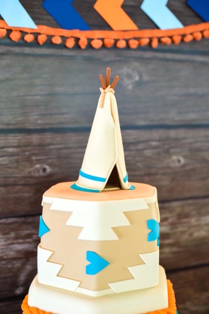 Tribal teepee cake from a Boho Tribal 1st Birthday Party on Kara's Party Ideas | KarasPartyIdeas.com (9)