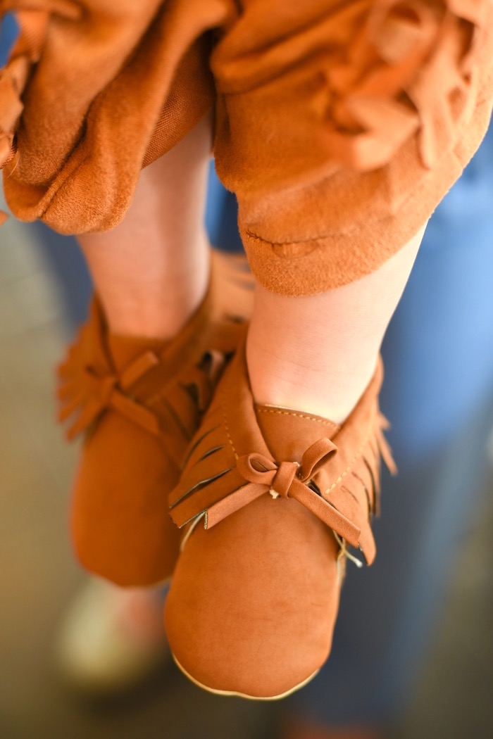 Baby moccasins from a Boho Tribal 1st Birthday Party on Kara's Party Ideas | KarasPartyIdeas.com (4)