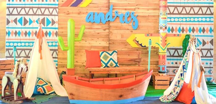 Boho Tribal 1st Birthday Party on Kara's Party Ideas | KarasPartyIdeas.com (3)