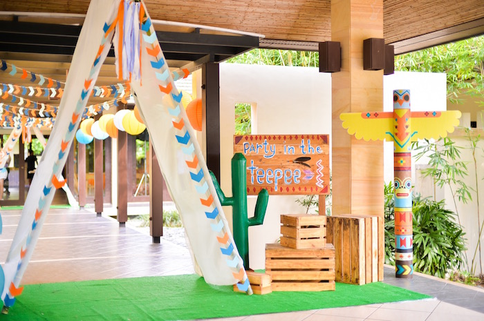 Teepee party entrance from a Boho Tribal 1st Birthday Party on Kara's Party Ideas | KarasPartyIdeas.com (34)
