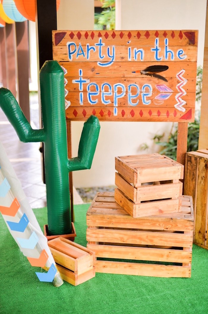 Cactus party sign from a Boho Tribal 1st Birthday Party on Kara's Party Ideas | KarasPartyIdeas.com (33)