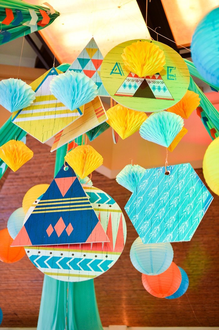 Tribal bunting + garland from a Boho Tribal 1st Birthday Party on Kara's Party Ideas | KarasPartyIdeas.com (30)
