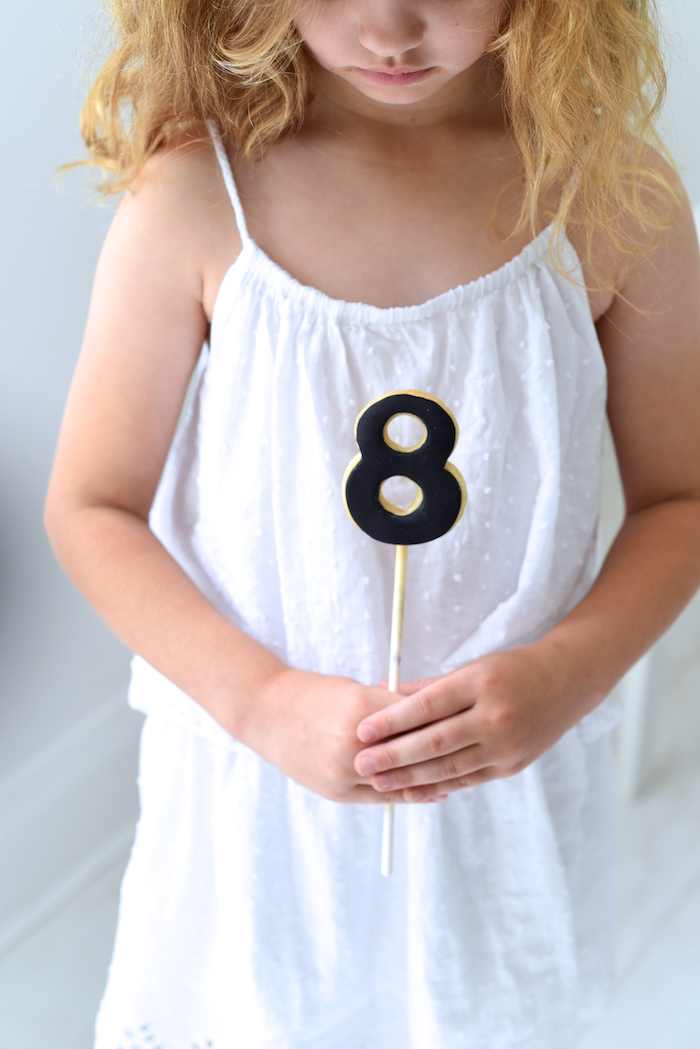 """Number """"8"""" cookie pop from a Bookworm Themed Book Exchange Birthday Party on Kara's Party Ideas   KarasPartyIdeas.com (26)"""