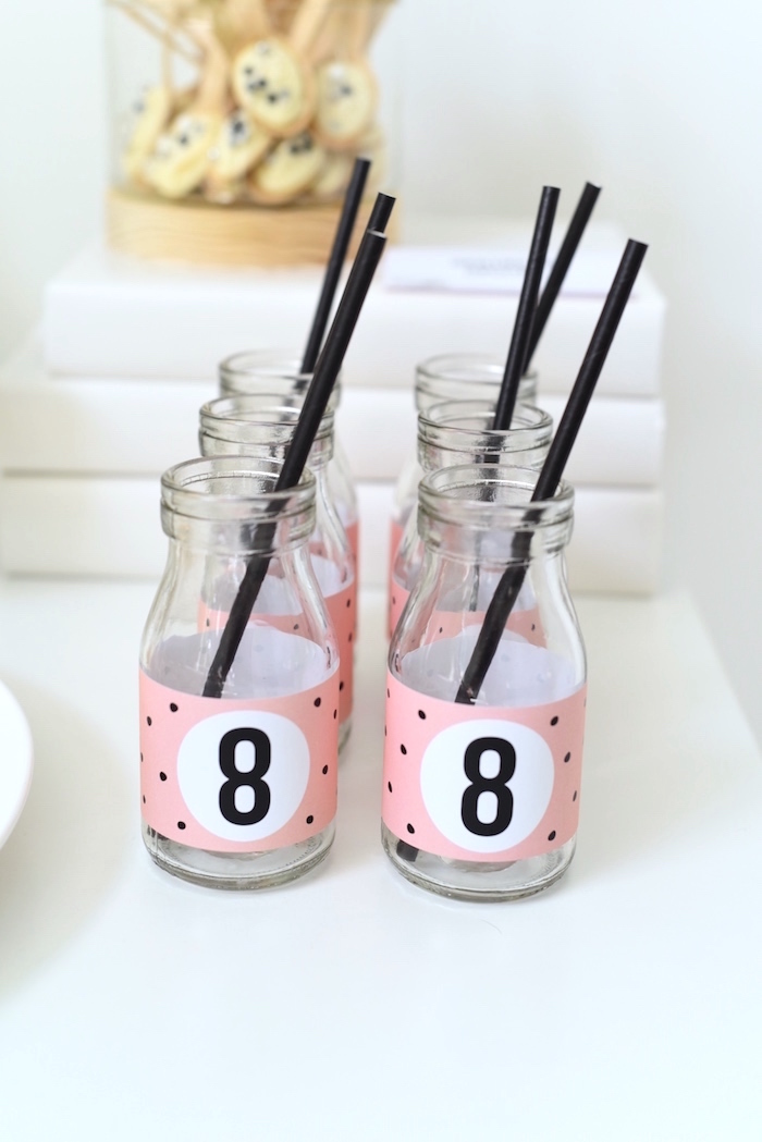 """8"" drink bottles from a Bookworm Themed Book Exchange Birthday Party on Kara's Party Ideas 