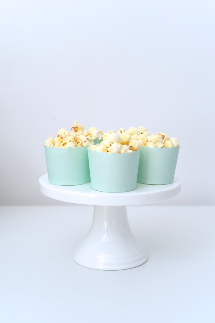Mint popcorn cups from a Bookworm Themed Book Exchange Birthday Party on Kara's Party Ideas | KarasPartyIdeas.com (18)