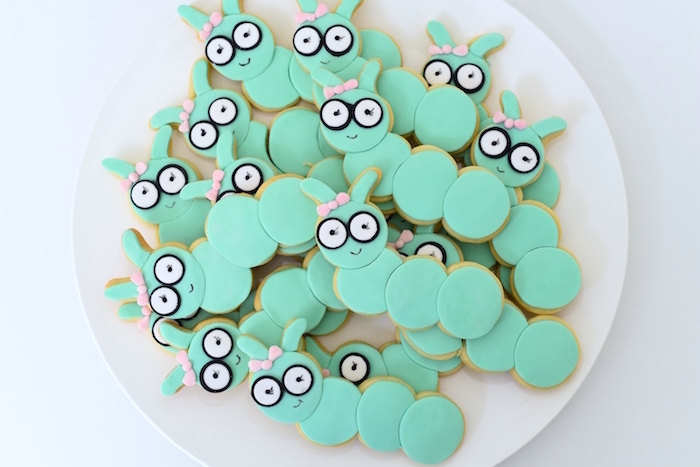 Bookworm cookies from a Bookworm Themed Book Exchange Birthday Party on Kara's Party Ideas   KarasPartyIdeas.com (16)
