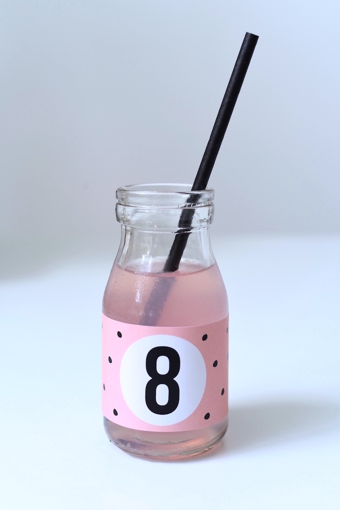 Pink and black polka dot drink bottle from a Bookworm Themed Book Exchange Birthday Party on Kara's Party Ideas | KarasPartyIdeas.com (32)