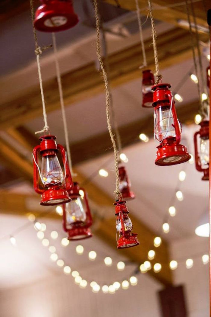 Hanging lanterns from a Camping Themed Bar Mitzvah Celebration on Kara's Party Ideas | KarasPartyIdeas.com (73)