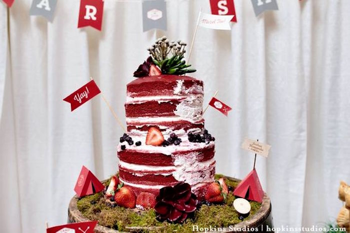 Red velvet naked cake from a Camping Themed Bar Mitzvah Celebration on Kara's Party Ideas | KarasPartyIdeas.com (71)