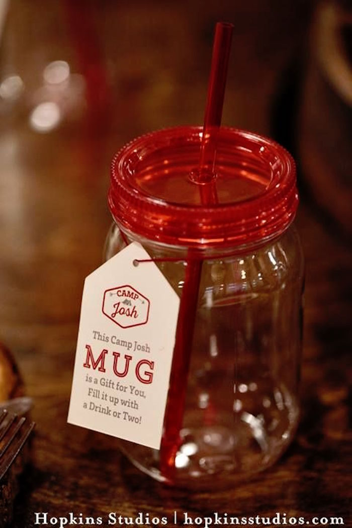 Plastic mason jar drink cup from a Camping Themed Bar Mitzvah Celebration on Kara's Party Ideas | KarasPartyIdeas.com (66)