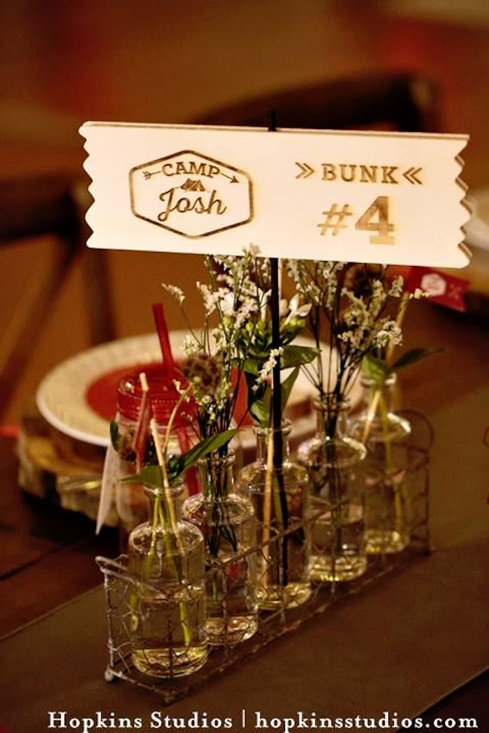 Long neck glass bottles in a wire basket from a Camping Themed Bar Mitzvah Celebration on Kara's Party Ideas | KarasPartyIdeas.com (83)