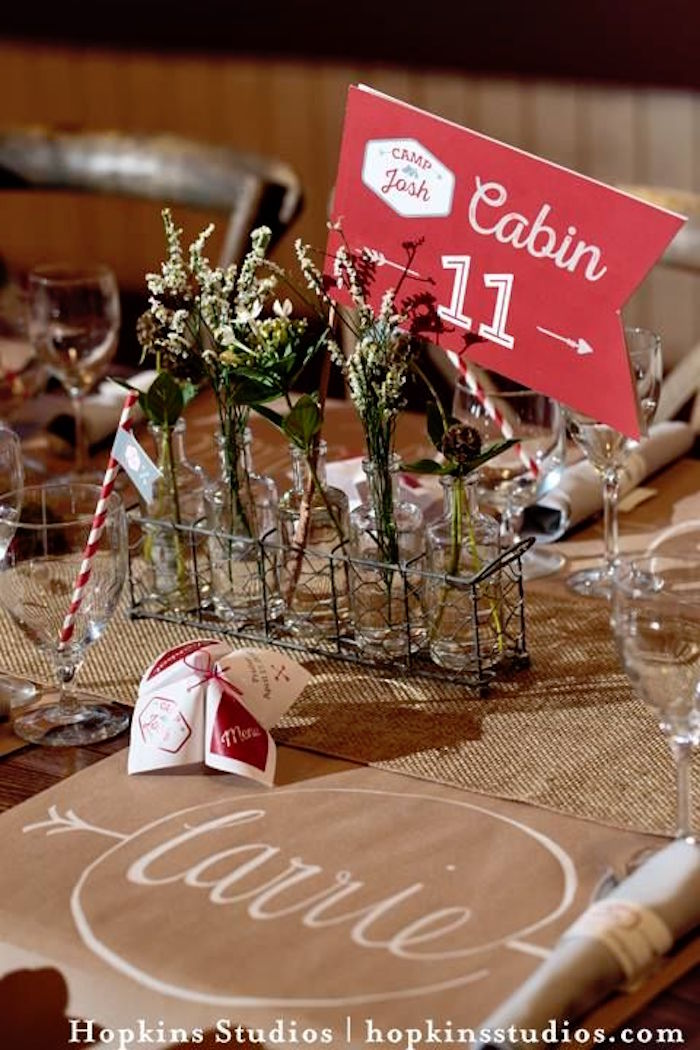 Bottle centerpiece with flag table number from a Camping Themed Bar Mitzvah Celebration on Kara's Party Ideas   KarasPartyIdeas.com (63)