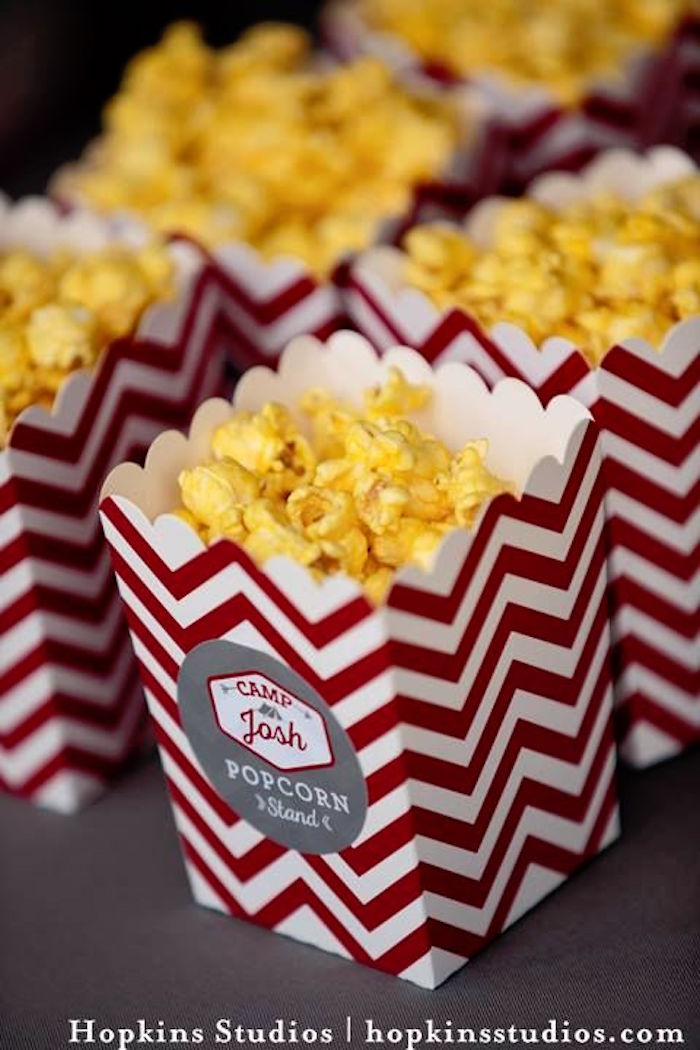Chevron popcorn boxes from a Camping Themed Bar Mitzvah Celebration on Kara's Party Ideas | KarasPartyIdeas.com (60)