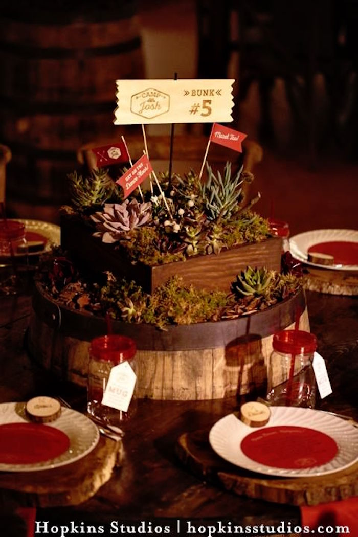 Guest table from a Camping Themed Bar Mitzvah Celebration on Kara's Party Ideas | KarasPartyIdeas.com (57)