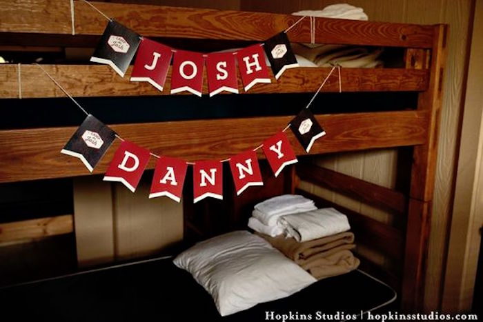Camp bunk bed from a Camping Themed Bar Mitzvah Celebration on Kara's Party Ideas | KarasPartyIdeas.com (56)
