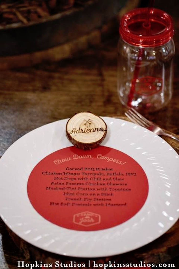 Place setting from a Camping Themed Bar Mitzvah Celebration on Kara's Party Ideas | KarasPartyIdeas.com (55)