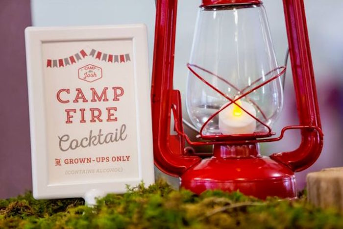 Lantern party signage from a Camping Themed Bar Mitzvah Celebration on Kara's Party Ideas | KarasPartyIdeas.com (82)