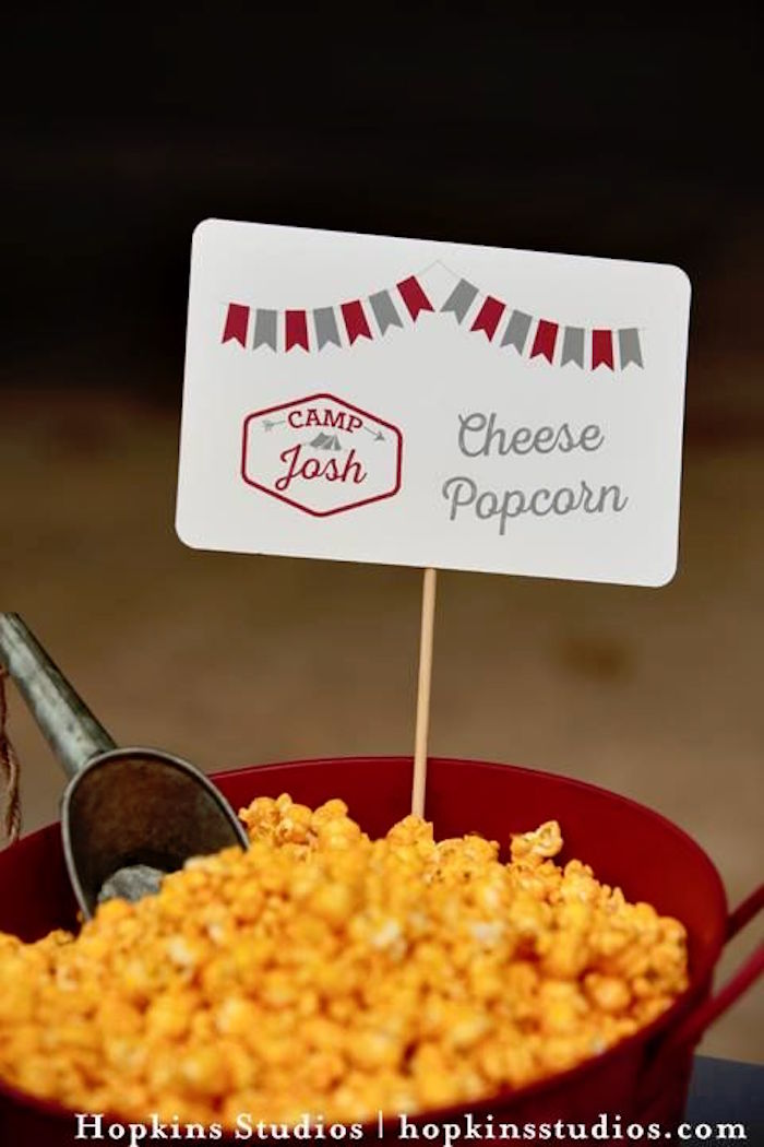 Cheese popcorn tub from a Camping Themed Bar Mitzvah Celebration on Kara's Party Ideas   KarasPartyIdeas.com (51)