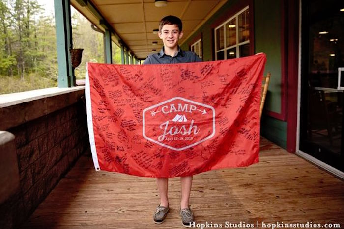 Signed camp flag from a Camping Themed Bar Mitzvah Celebration on Kara's Party Ideas   KarasPartyIdeas.com (49)