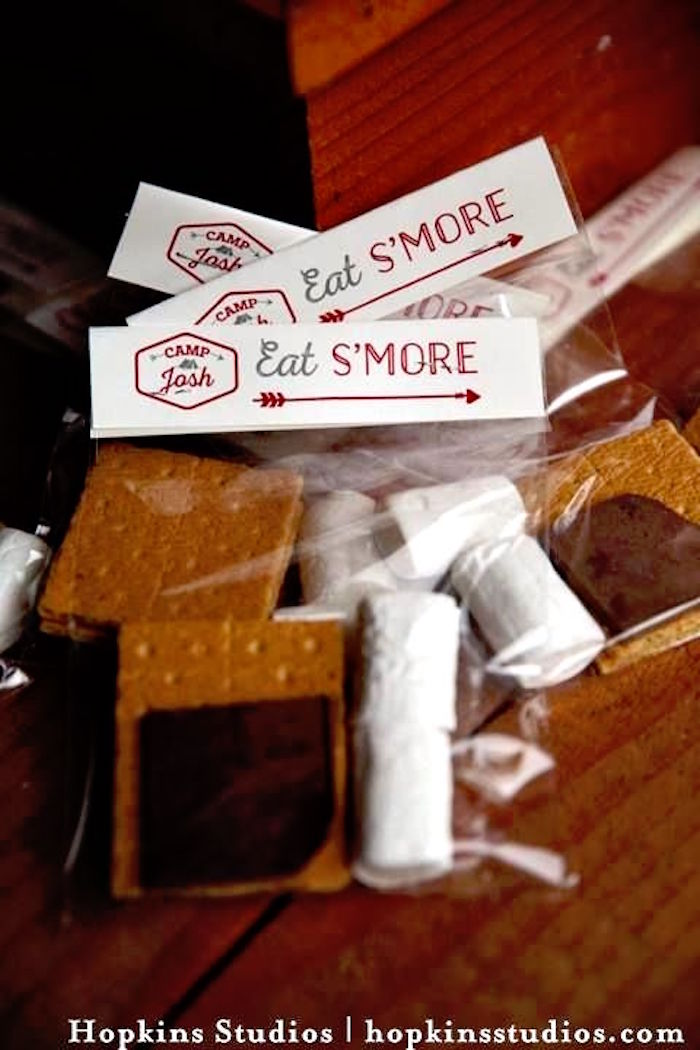S'more packs from a Camping Themed Bar Mitzvah Celebration on Kara's Party Ideas | KarasPartyIdeas.com (48)