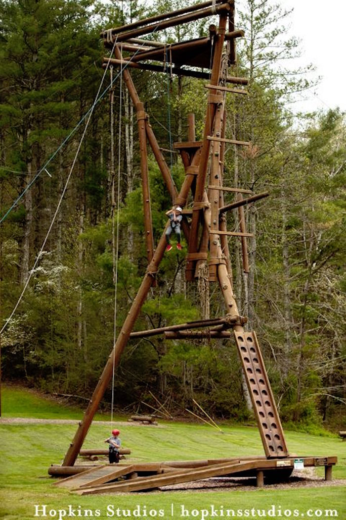 Ropes course from a Camping Themed Bar Mitzvah Celebration on Kara's Party Ideas | KarasPartyIdeas.com (46)
