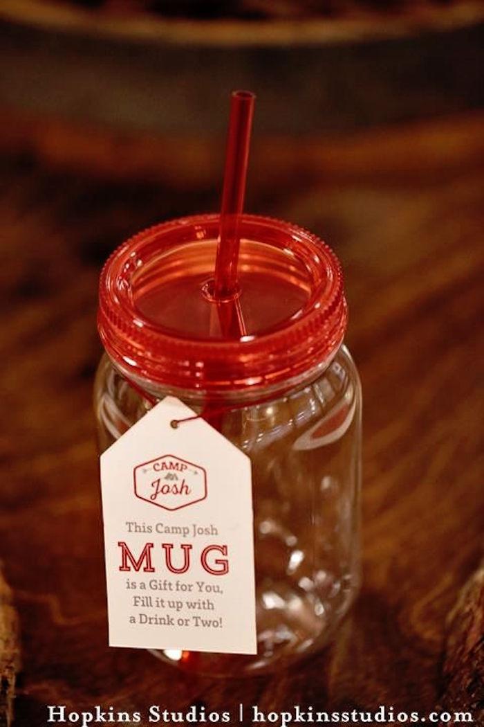 Plastic mason jar cup from a Camping Themed Bar Mitzvah Celebration on Kara's Party Ideas   KarasPartyIdeas.com (44)
