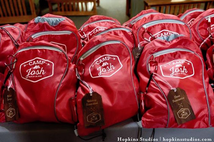 Camper back packs from a Camping Themed Bar Mitzvah Celebration on Kara's Party Ideas | KarasPartyIdeas.com (41)