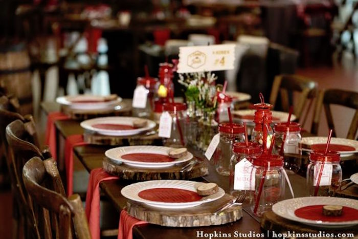 Guest tablescape from a Camping Themed Bar Mitzvah Celebration on Kara's Party Ideas | KarasPartyIdeas.com (35)