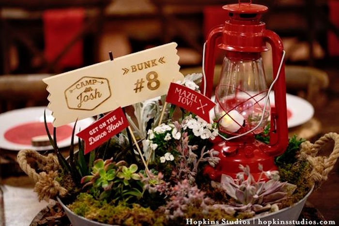 Galvanized bin plant centerpiece from a Camping Themed Bar Mitzvah Celebration on Kara's Party Ideas | KarasPartyIdeas.com (80)