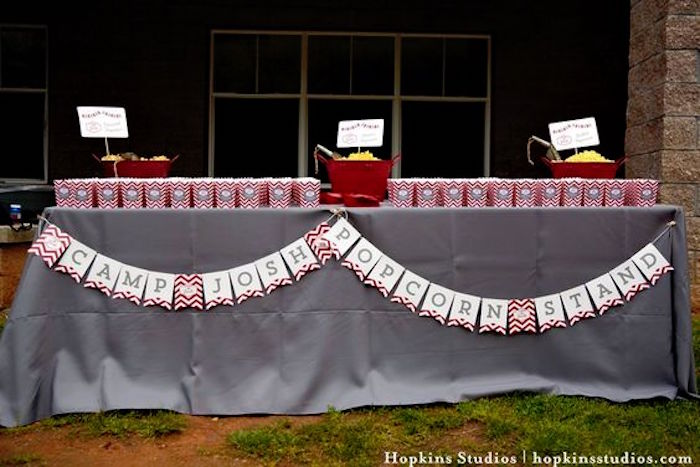 Popcorn stand from a Camping Themed Bar Mitzvah Celebration on Kara's Party Ideas | KarasPartyIdeas.com (29)