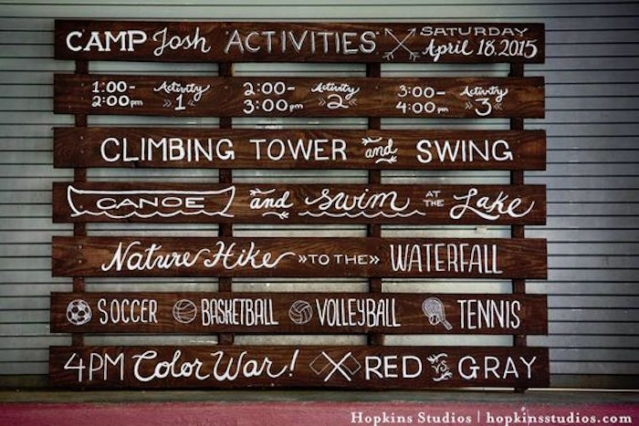 Wood pallet activity board from a Camping Themed Bar Mitzvah Celebration on Kara's Party Ideas | KarasPartyIdeas.com (28)