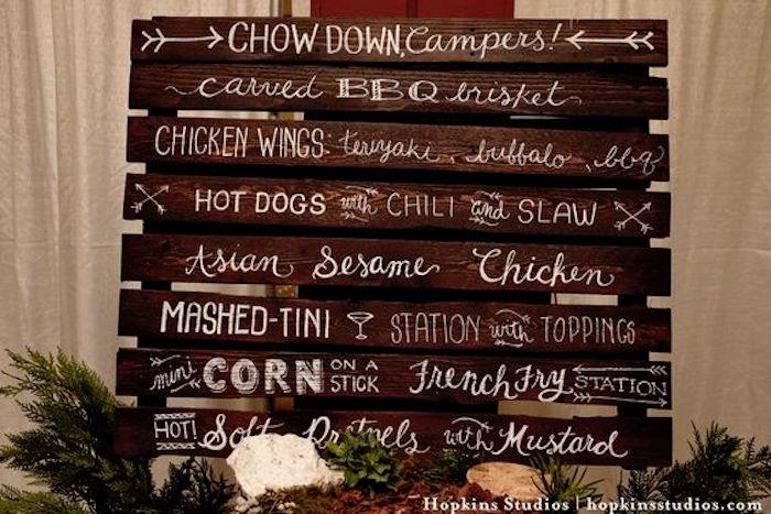 Wood pallet menu from a Camping Themed Bar Mitzvah Celebration on Kara's Party Ideas | KarasPartyIdeas.com (79)