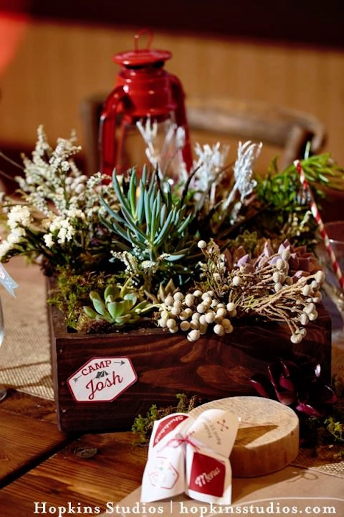 Rustic succulent table centerpiece from a Camping Themed Bar Mitzvah Celebration on Kara's Party Ideas | KarasPartyIdeas.com (24)